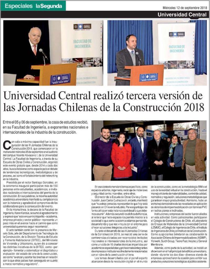Diario La Segunda – 12 de Septiembre de 2018